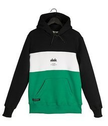 Bluza Elade HOODIE COLOUR BLOCK BLACK/WHITE/GREEN