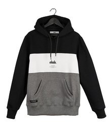Bluza Elade HOODIE COLOUR BLOCK BLACK/WHITE/GREY