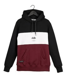 Bluza Elade HOODIE COLOUR BLOCK BLACK/WHITE/MAROON