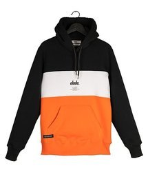 Bluza Elade HOODIE COLOUR BLOCK  BLACK/WHITE/ORANGE