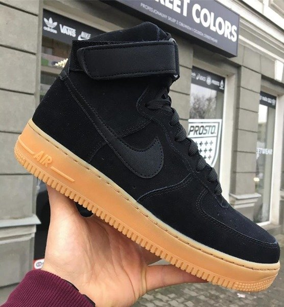on sale 64101 0916a Buty Nike AIR FORCE 1 HIGH '07 LV8 SUEDE AA1118-001 black/gum ...