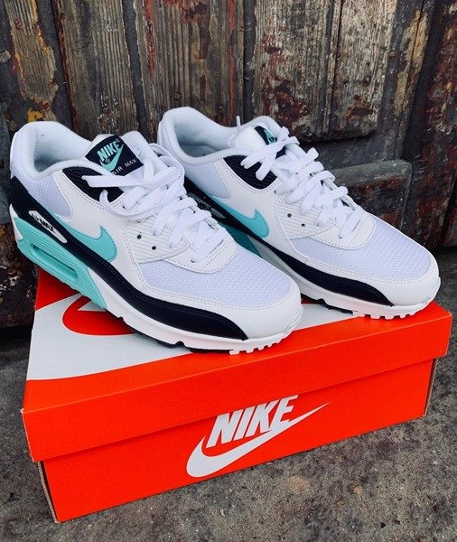 Nike Air Max 90 Essential White, Aurora Green & Obsidian