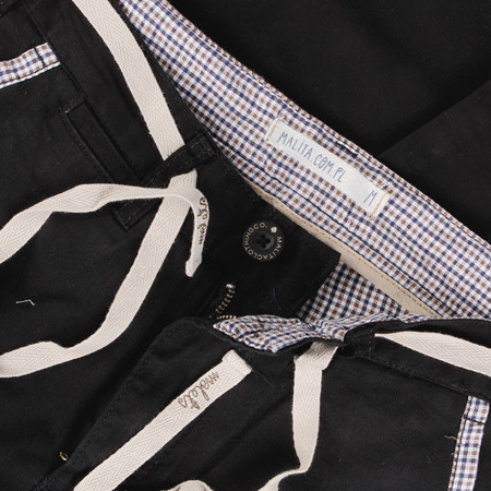 Spodnie Malita Chino Check Black silm fit